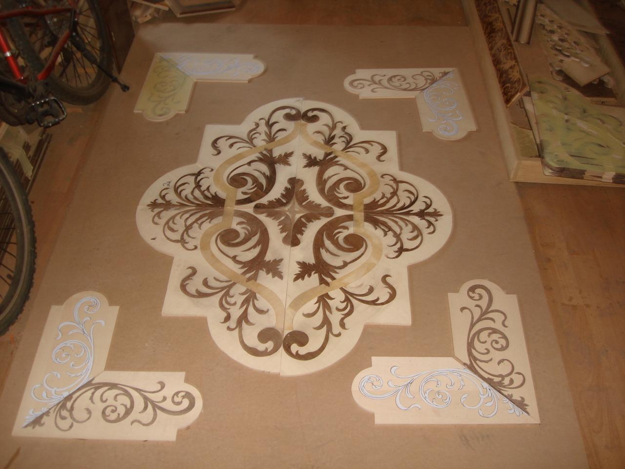 rozeta podłogowa-rozetten-intarsien