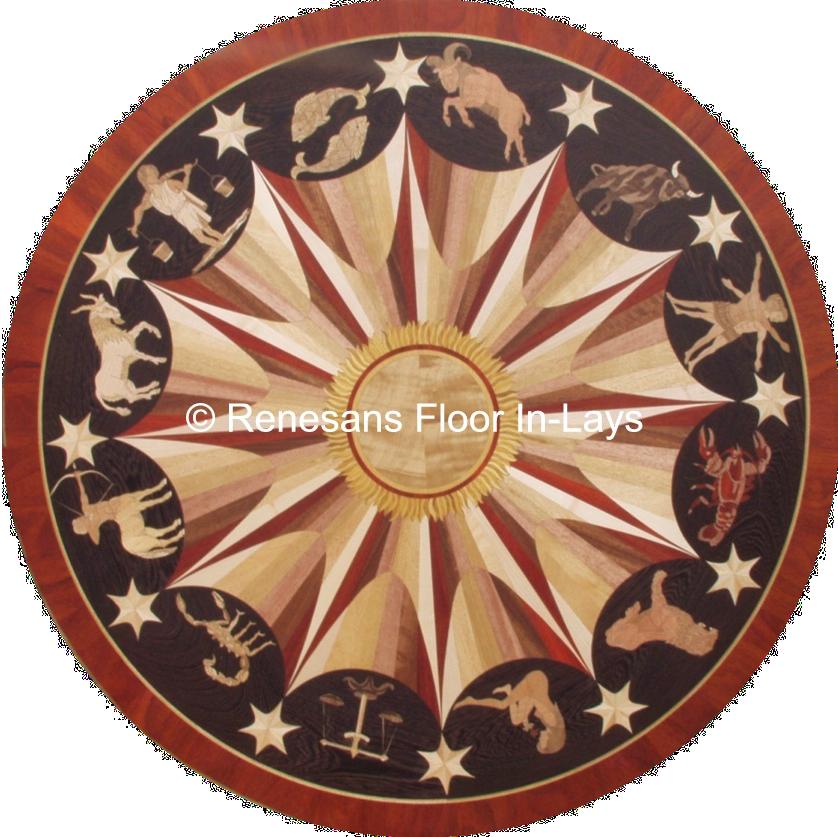 zodiak rozeta drewniana
